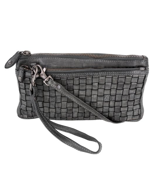 Bear Design Crossbody Bag Wallet (20/ 12/ 2 cm) with wrist loop CL13995 braided, washed leather